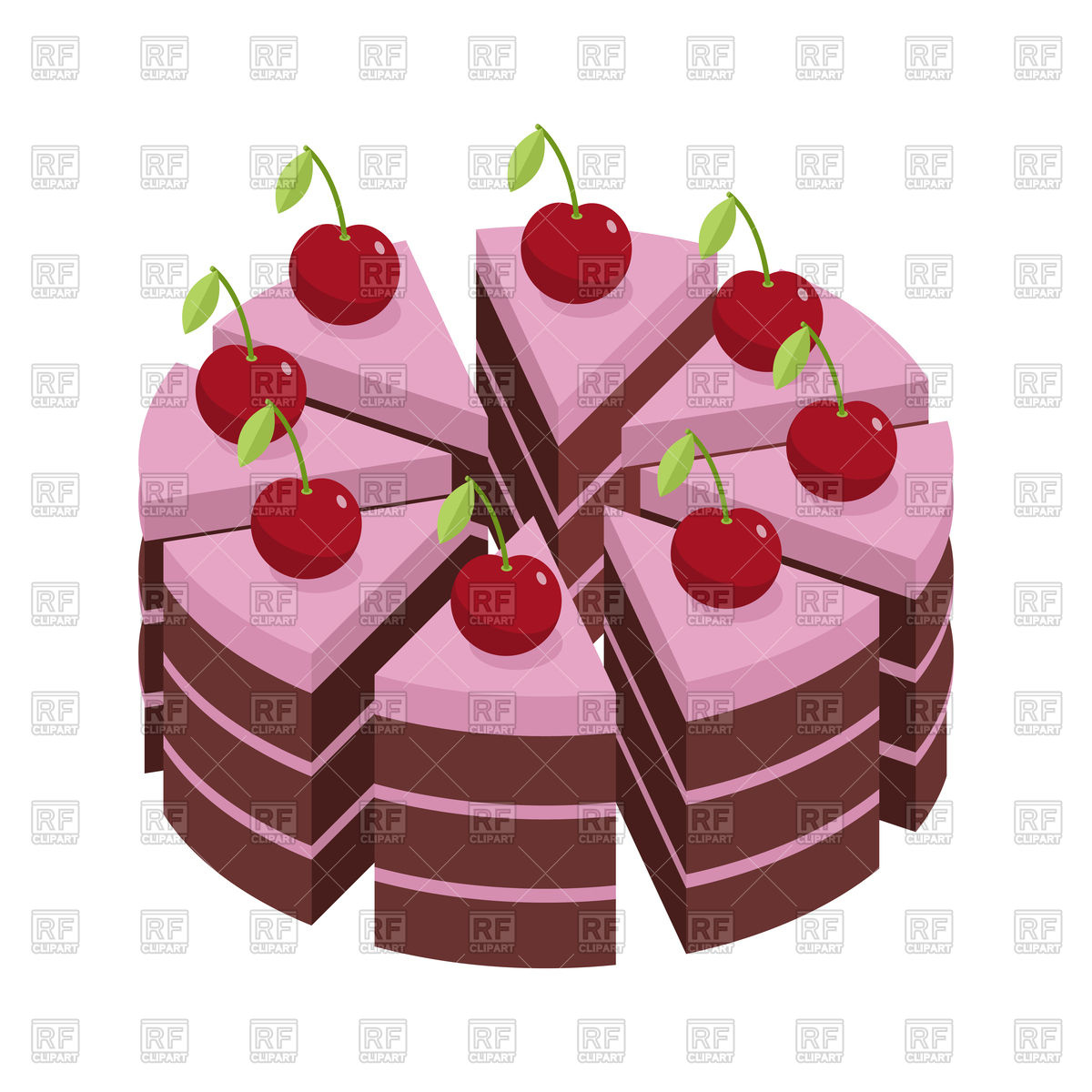 Cherry cake, pieces of holiday pie Stock Vector Image.