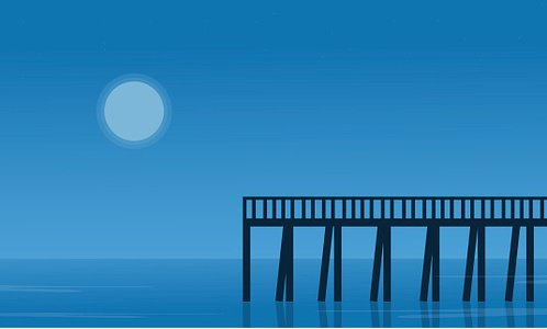 Silhouette of pier on seaside scenery Clipart Image.