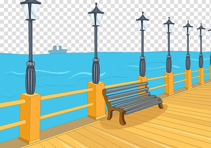 Cartoon , Hand painted sea pier transparent background PNG.