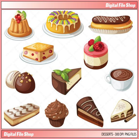 Clip Art Sweets Pie Dessert / Cup Cakes by DigitalFileShop.