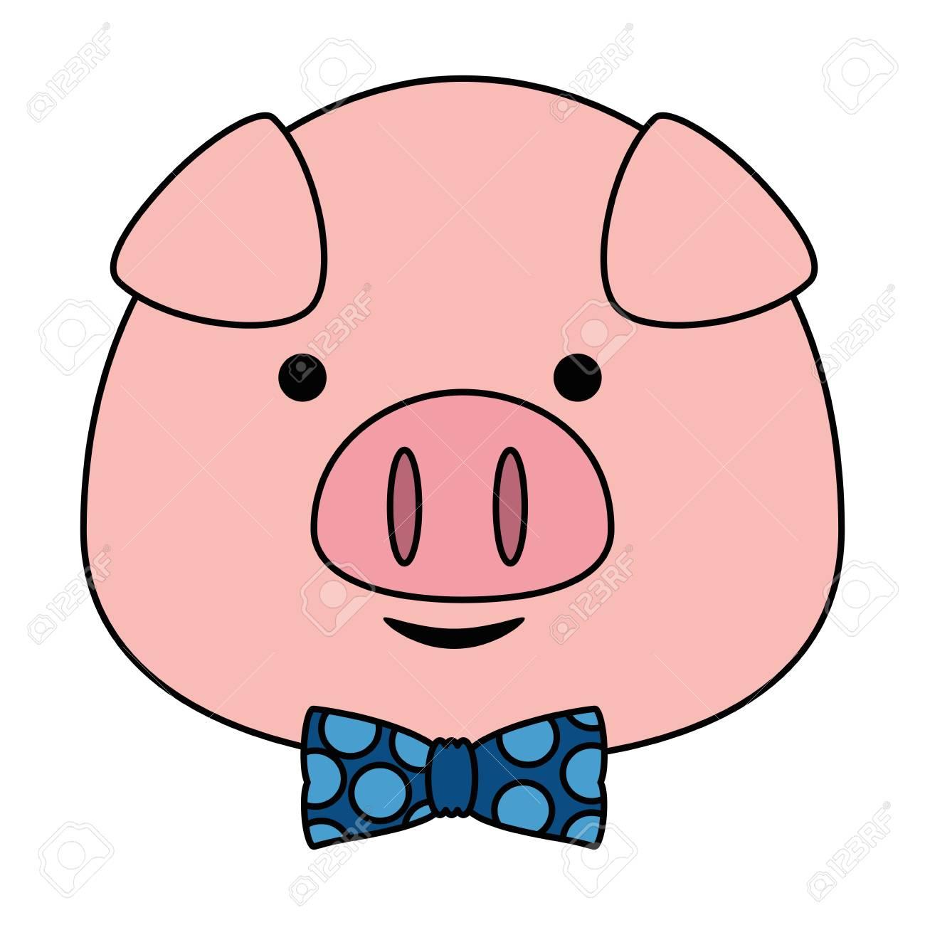 cute little pig head adorable character vector illustration design.