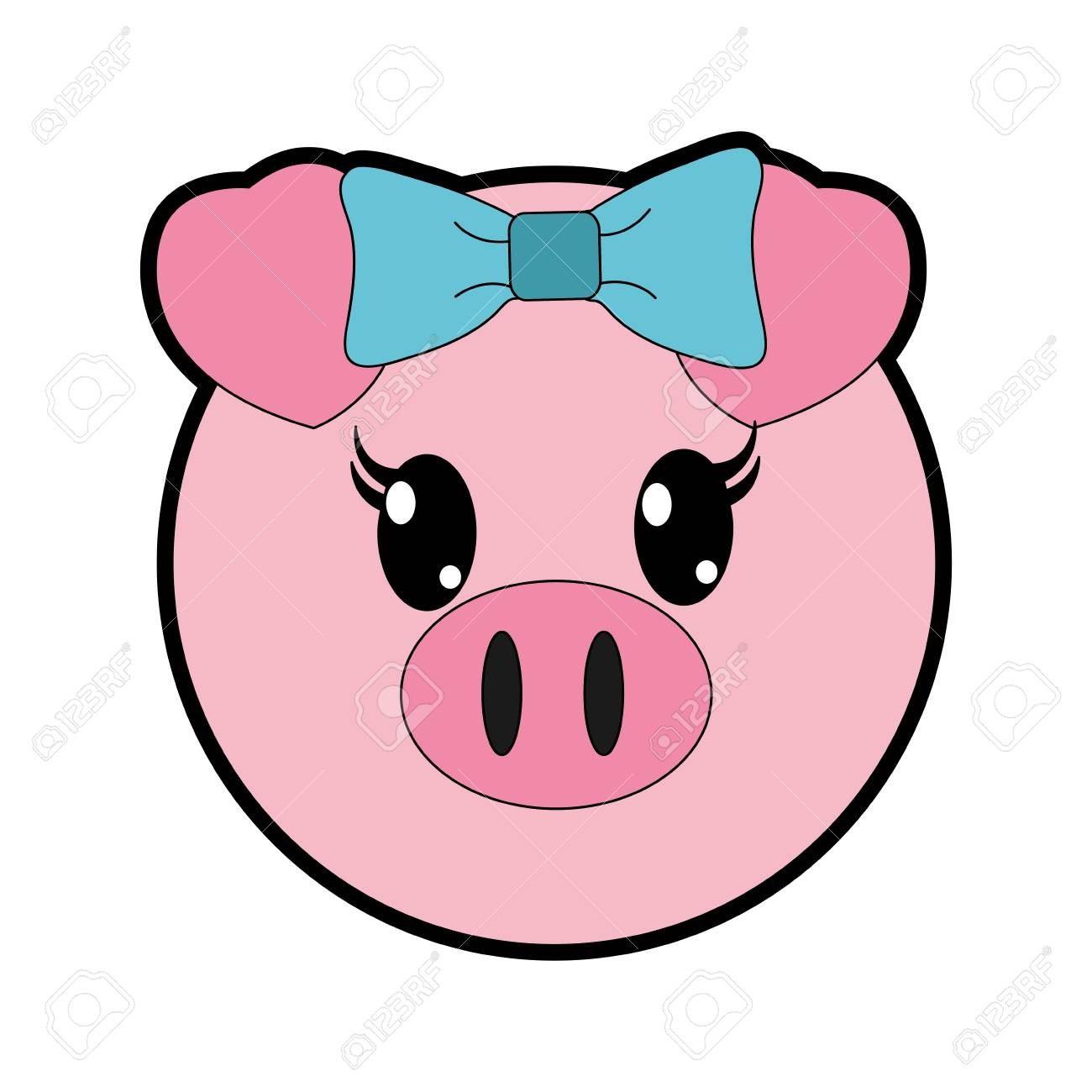 Full color female pig head cute animal » Clipart Station.