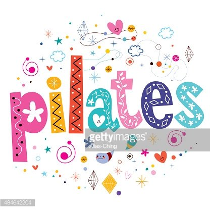 pilates typography lettering text design Clipart Image.