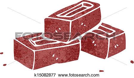Clip Art of retro cartoon pile of bricks k15082877.