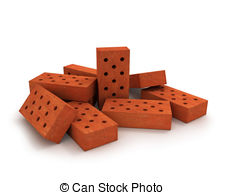 Clip Art of Stack of orange bricks on pallet, isolated on white.