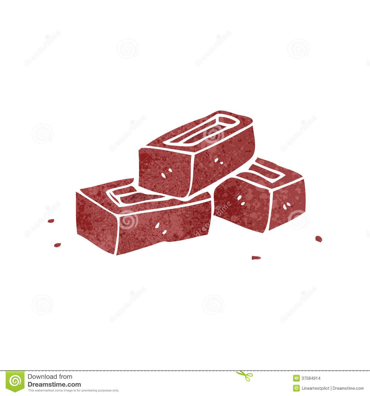 Retro Cartoon Pile Of Bricks Stock Images.