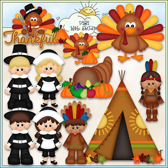 Whimsical Clip Art Download Keywords: Thanksgiving, turkey.