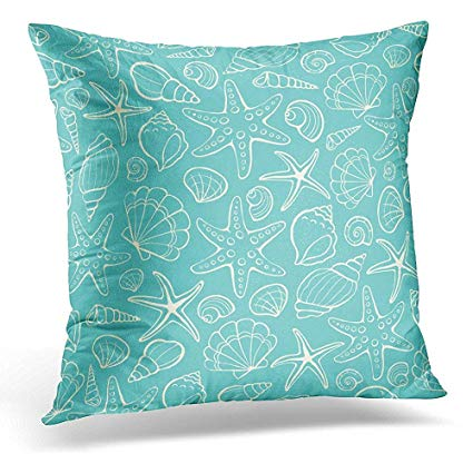 Amazon.com: Decorative Pillow Cover Blue Clipart from Sea Shells and.