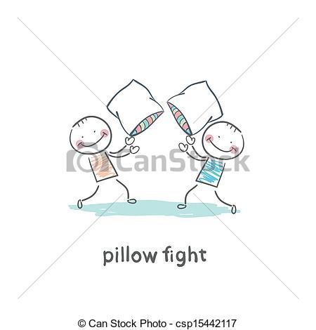 Vector Clip Art of pillow fights csp15442117.