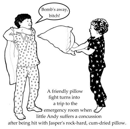 Pillow fight clip art.