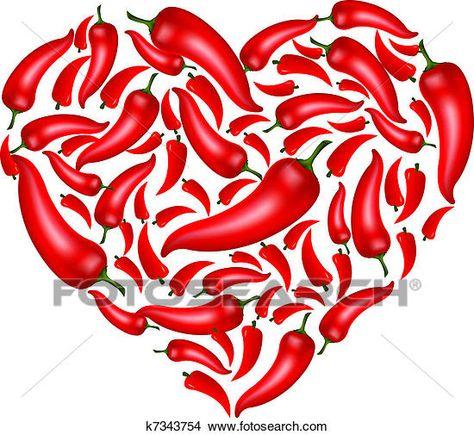 Pimenta pimentão, coração Clipart.