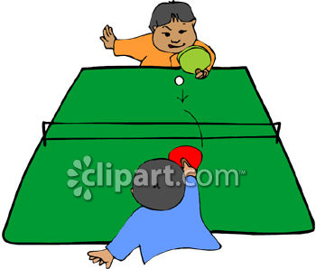 Two Little Boys Playing Ping Pong.