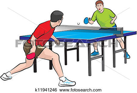 Clip Art of two players play table tennis k11941246.