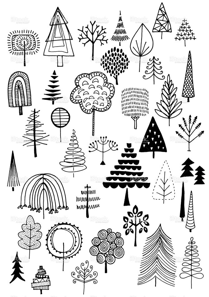 Doodle trees vector illustration.