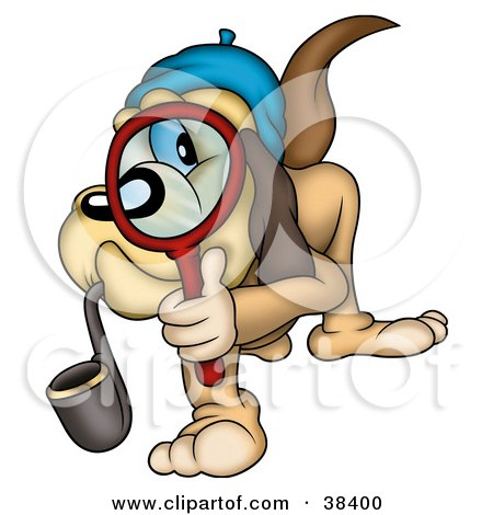 Clipart Illustration of a Detective Dog Smoking A Pipe And Peering.