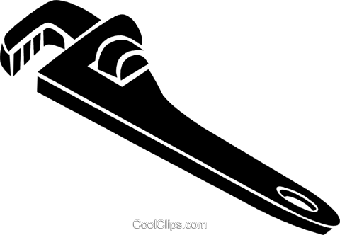 pipe wrench Royalty Free Vector Clip Art illustration.