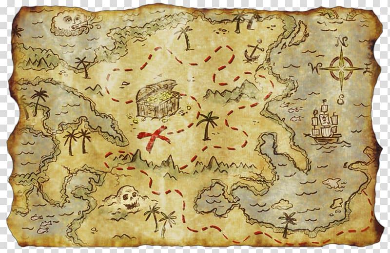 Map illustration, Treasure map Buried treasure Piracy.