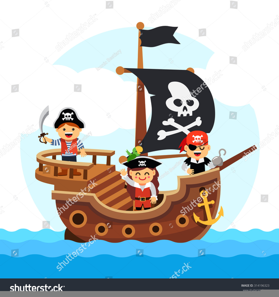 Pirate Ship Clipart Black And White.