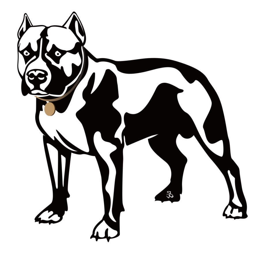 Pitbull Clipart Black White Free PNG Images & Clipart Download.