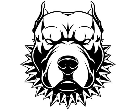 Pitbull, Pit bull terrier, Dog, Cartoon, SVG,Graphics,Illustration.