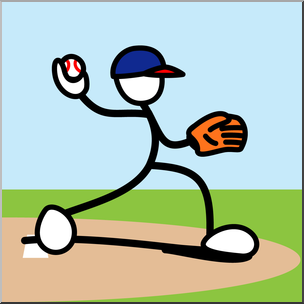 Clip Art: Stick Guy Baseball Pitch Color I abcteach.com.