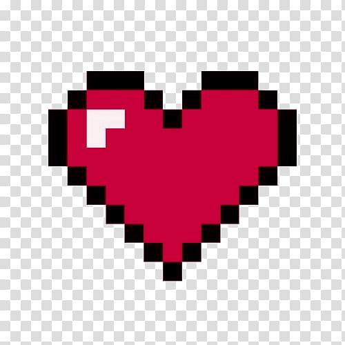 Pixel, red and black heart artwork transparent background.