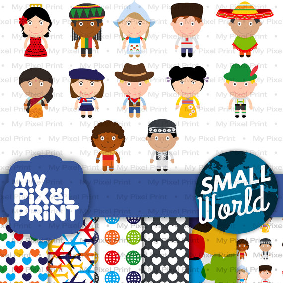 Cute Children of the World Digital Clipart, Ethnic Kids.