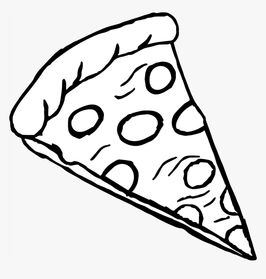 Pizza Slice Of Clipart Black And White Transparent.