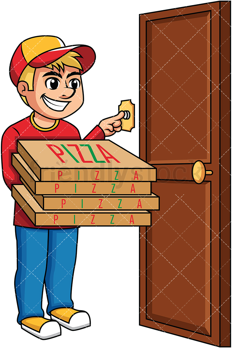 Pizza delivery boy ringing doorbell . PNG.