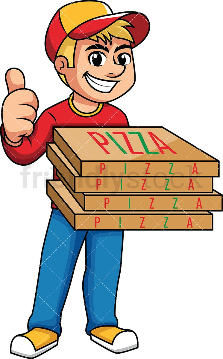 Pizza Delivery Man Giving The Thumbs Up.