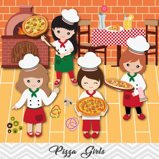 Pizza Party Clip Art, Little Chef Little Girl Pizza Clipart, 00172.