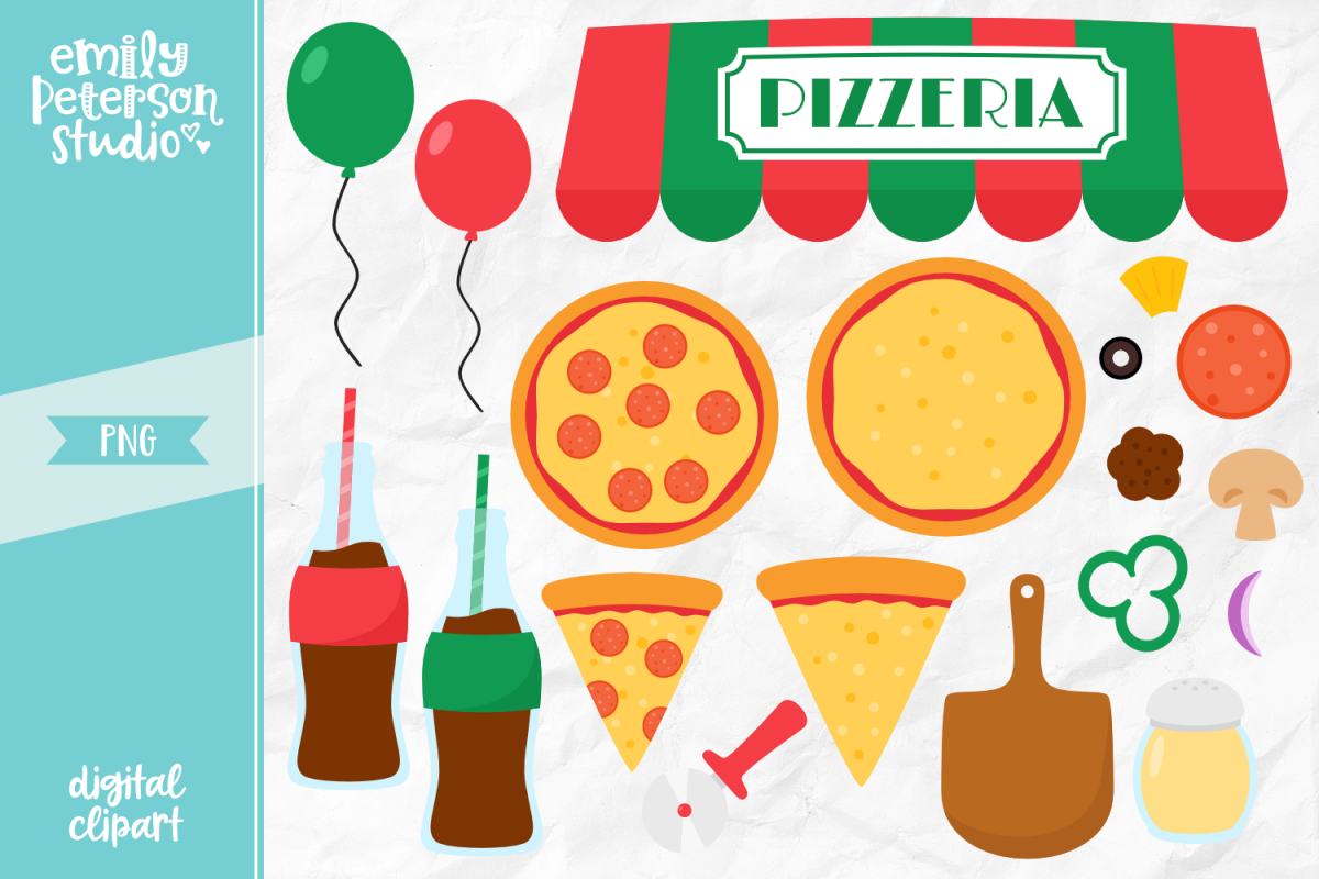 Pizza Party Clipart Illustration PNG.
