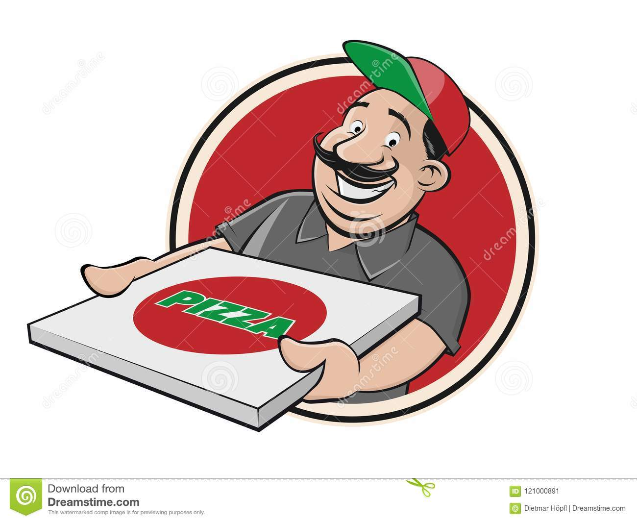 Funny pizza delivery guy stock vector. Illustration of clip.