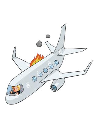 Crashing Plane Clipart.