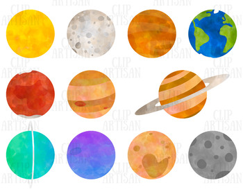 Space and Planets Clip Art, Watercolor Solar System.