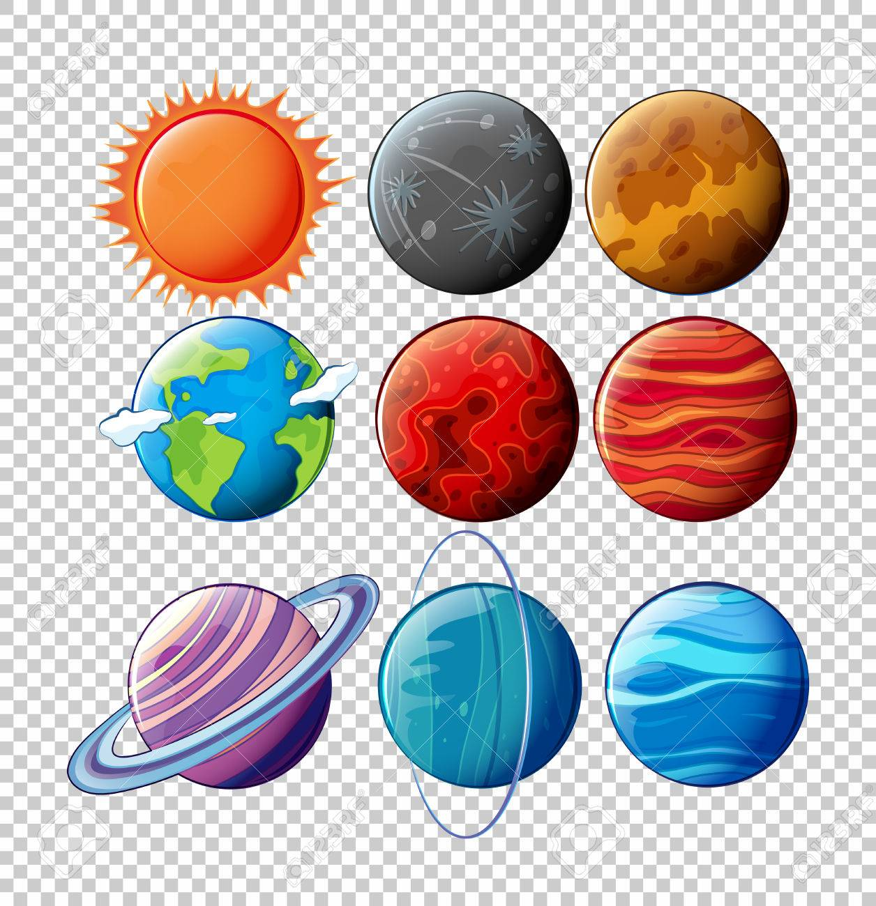 Different planets in solar system on transparent background illustration.