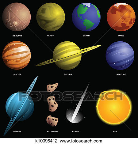 Planets isolated on black (not to scale) Clipart.