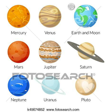 Planets of the solar system, vector illustration Clipart.