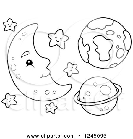 Clipart of a Black and White Happy Moon with Stars and Planets.