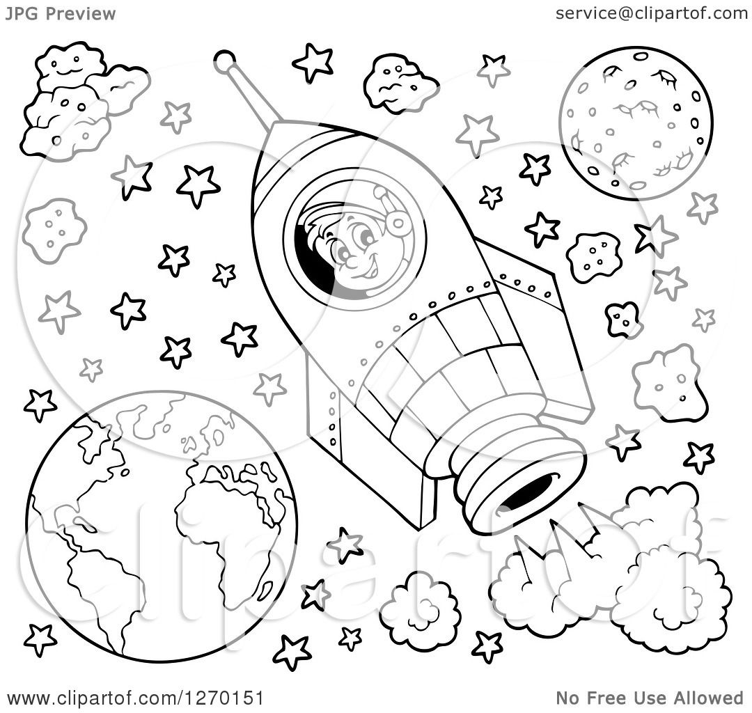 Clipart of a Black and White Happy Astronaut Flying in a Rocket.