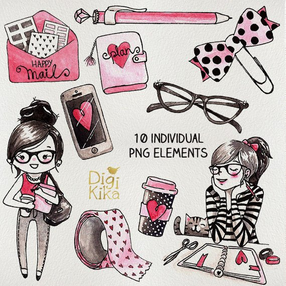 Planner Girl Clipart, Hand Painted Watercolor Clip Art.
