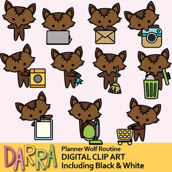 Wolf clipart / planner chore, routine activities clip art.