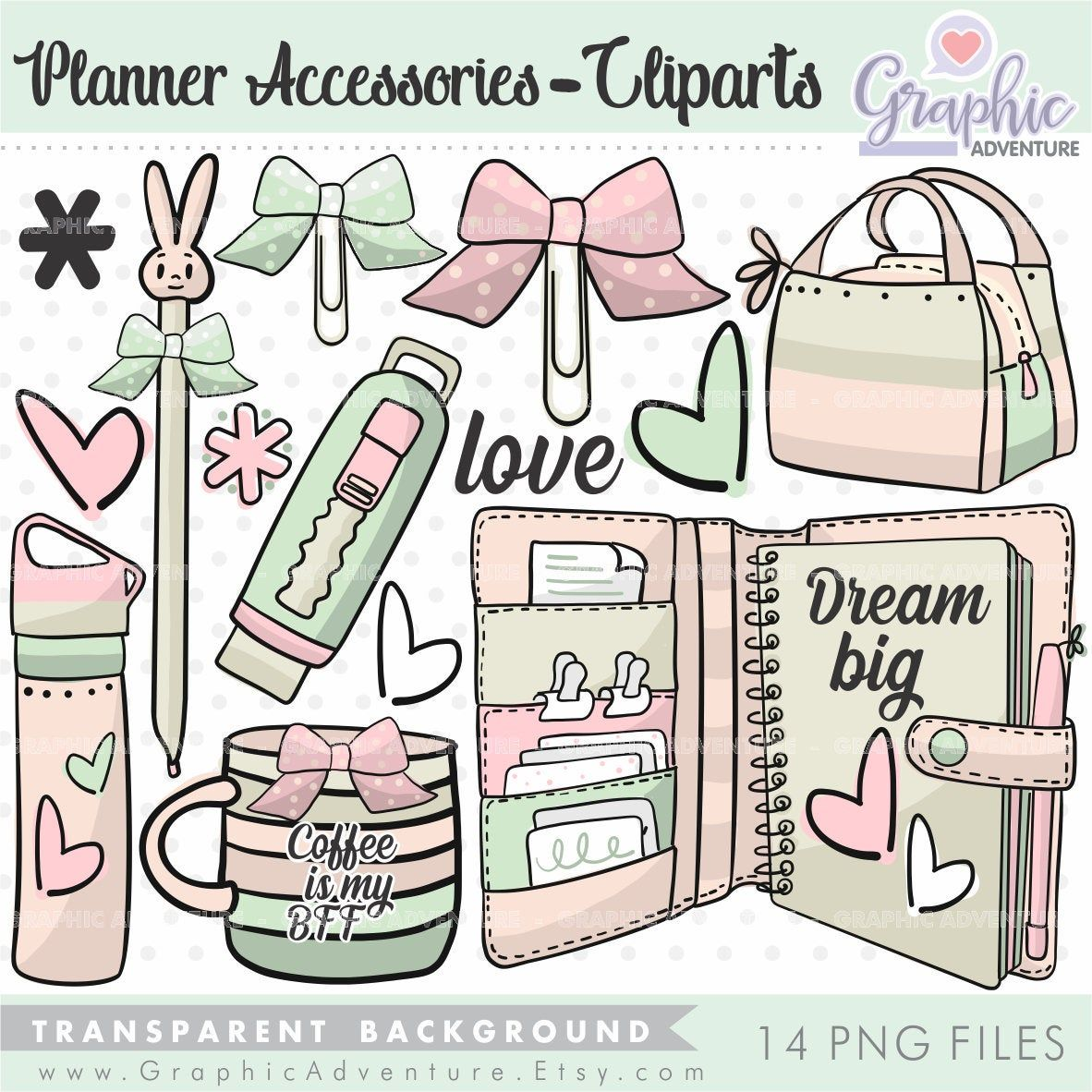 Planner Accesories Clipart, Planner Clipart, Coffe Cup.