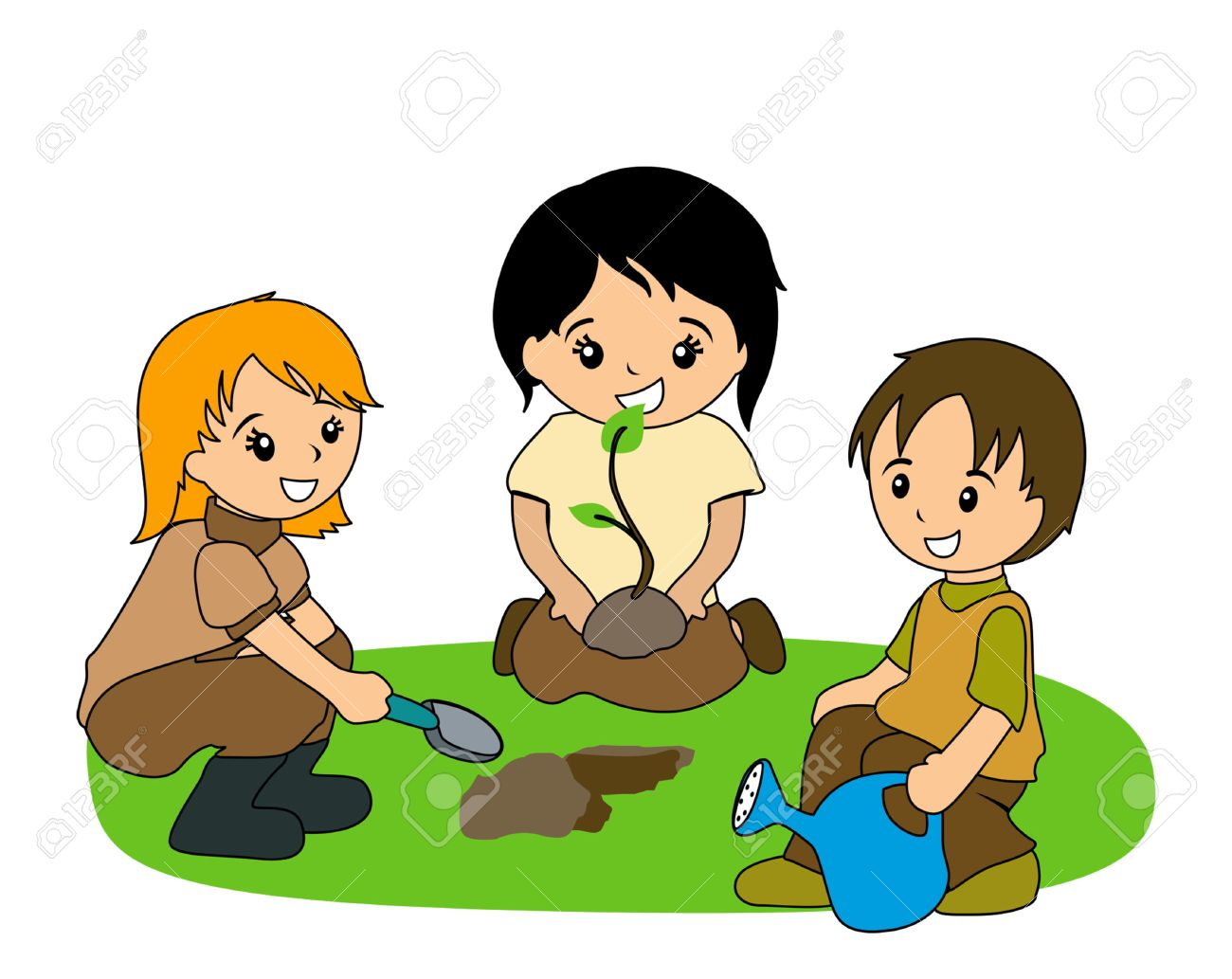 Kids planting clipart 6 » Clipart Station.