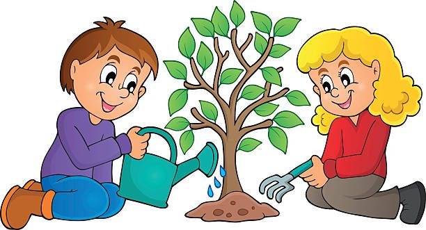 Child Planting Tree Clip Art, Vector Images & Illustrations.