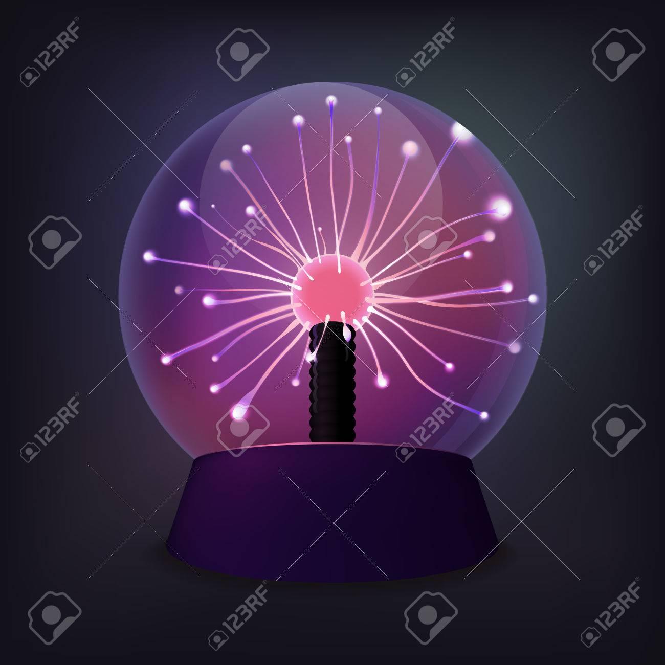 Plasma ball with luminous flames.
