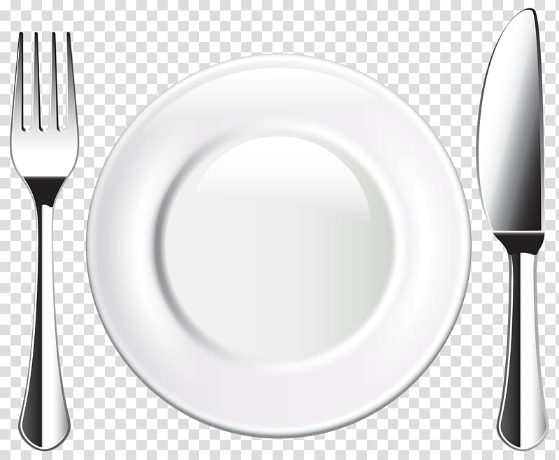 White plate in between of silver fork and knife, Plate.