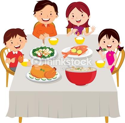 Repas En Famille Clipart.