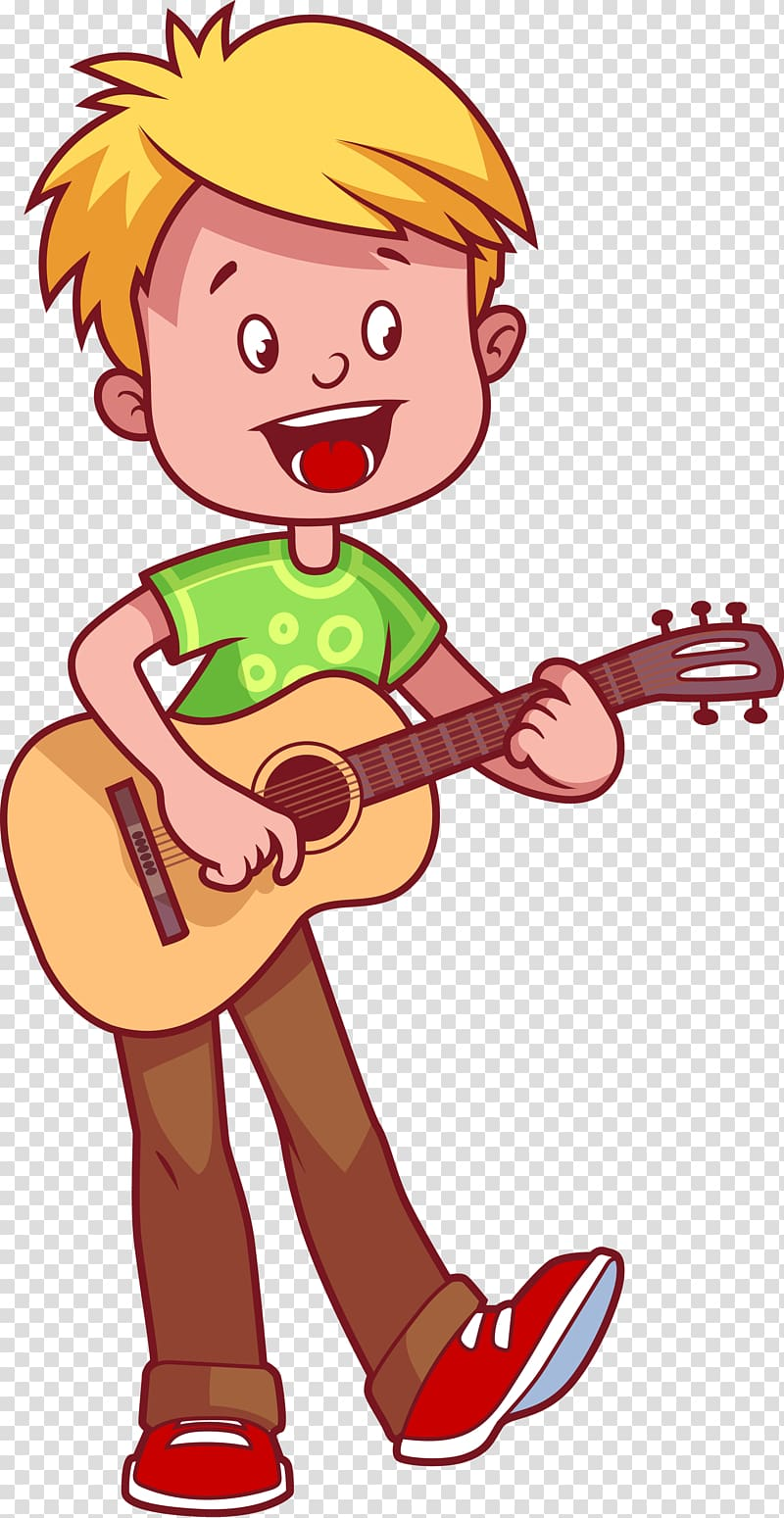 Boy play acoustic guitar, Guitar Cartoon Illustration.