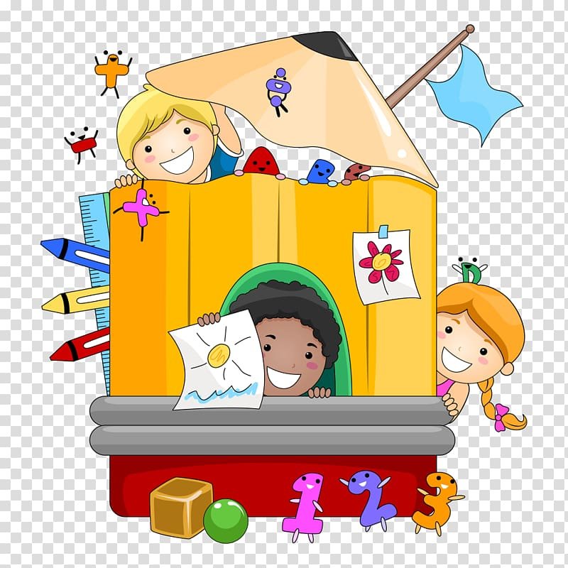 Playhouse with childrens illustration, Kindergarten Teacher.